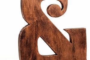 Extra Grande de 8 pulgadas 20 cm Vintage de Madera para Free-Standing a a Z, y las letras del alfabeto, color marrón y cobre, Vintage y Color blanco, Plata