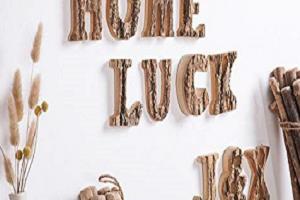 Letras rústicas madera natural, estilo vintage, decoración mural