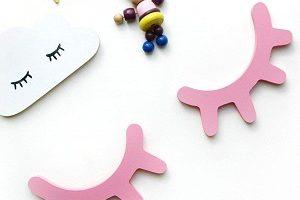 Pestañas madera rosa, decoración infantil