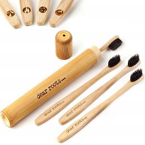 cepillo de dientes bambú biodegradable con funda de viaje