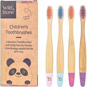 cepillo de bambú orgánico para niños