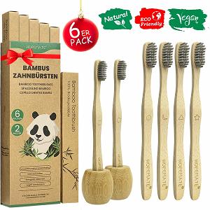 cepillo de dientes bambu cedras de carbón portacepillos