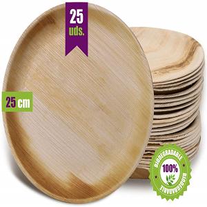 platos deshechables de madera redondos hoja de plama