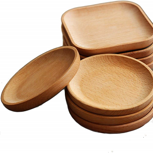 platos de madera redondo, cuadrado, aperitivo