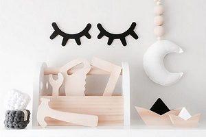 pestañas de madera negras, decoración infantil