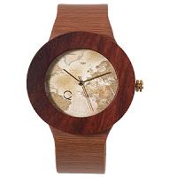 reloj madera mapamundi ecológico