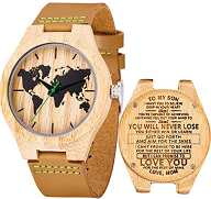 reloj madera mapamundi grabado